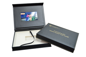 leather box set video screen lid promo box