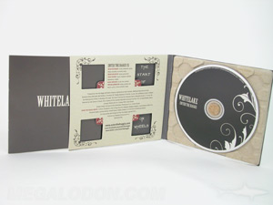 digipak cd recycled paper tray die cut windows front panel booklet