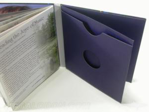 soft cover cd book swinging sleeve die cut center hole inner pages booklet